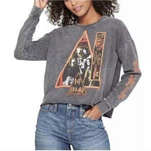 JunkFood :: Def Leppard crop graphic sweatshirt